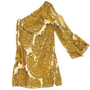 Milly Golden Silk Paisley Shift Dress One Shoulder